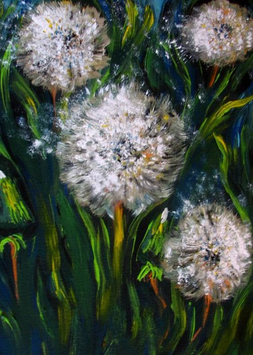 Flower Art Greeting Card featuring the painting Dandelions Acrylic Painting by Natalja Picugina