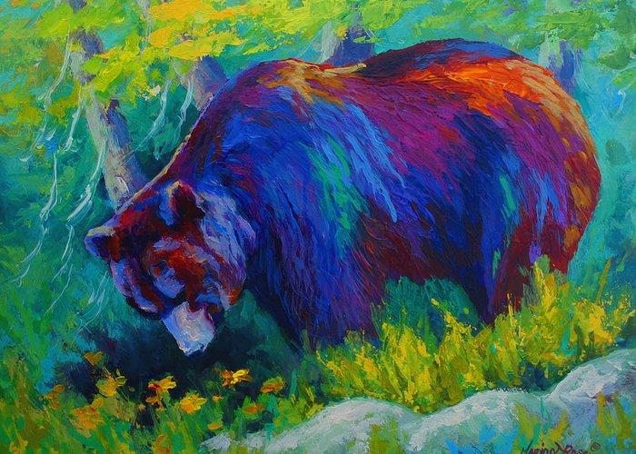 Western Greeting Card featuring the painting Dandelions For Dinner - Black Bear by Marion Rose
