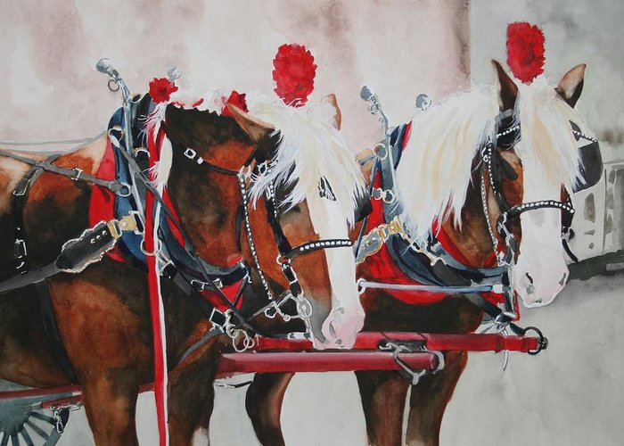 Horse Greeting Card featuring the painting Dandy Duo by Jean Blackmer