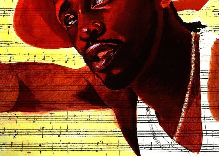Portraits Greeting Card featuring the painting D'angelo-singer by Raphael Sanabria