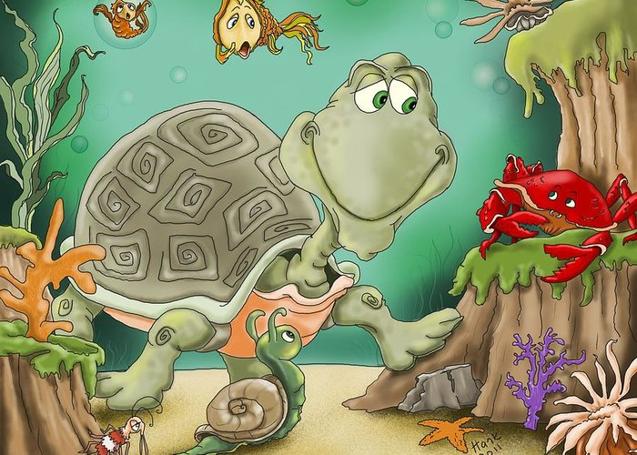 Turtle Illustrations Greeting Card featuring the painting Danger by Hank Nunes