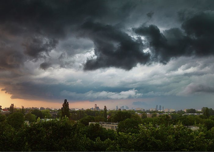 Poland Greeting Card featuring the photograph Dangerous Stormy Clouds Over Warsaw by Lukasz Szczepanski