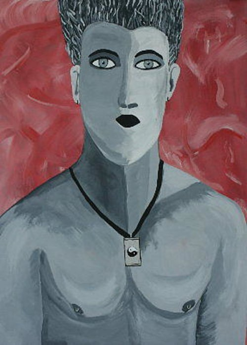 Portrait Gay Man Yin Yang Silver Greeting Card featuring the painting Daniel by Dawn Downour
