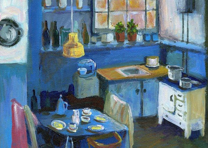 Denmark Greeting Card featuring the painting Danish Kitchen by Art Nomad Sandra Hansen