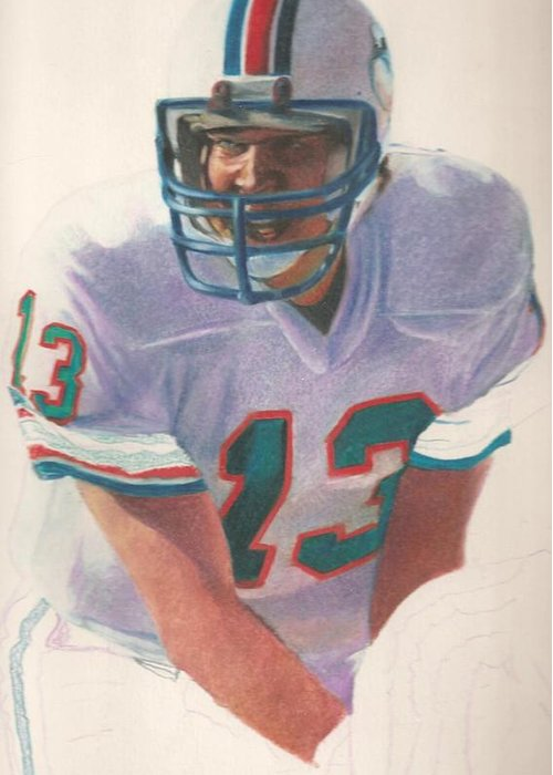 Dan Marino Greeting Card featuring the drawing Danny by Darren Chilton