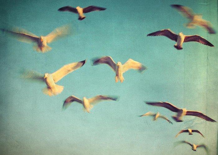 Retro Greeting Card featuring the photograph Dans Avec Les Oiseaux by Taylan Apukovska