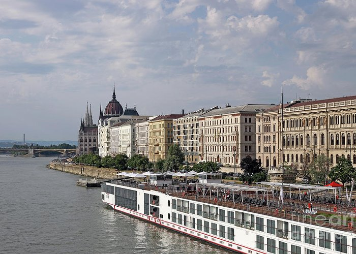 Budapest Greeting Card featuring the photograph Danube Riverside With Old Buildings Budapest Hungary by Goce Risteski
