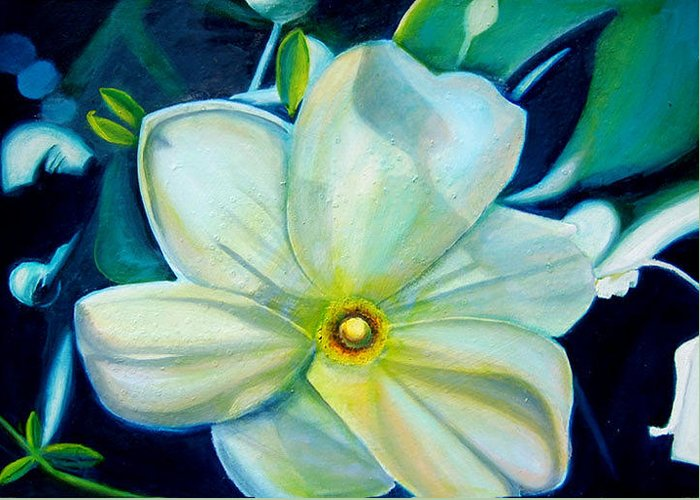 Flower Greeting Card featuring the painting Dappled Lights by Leonard Aitken