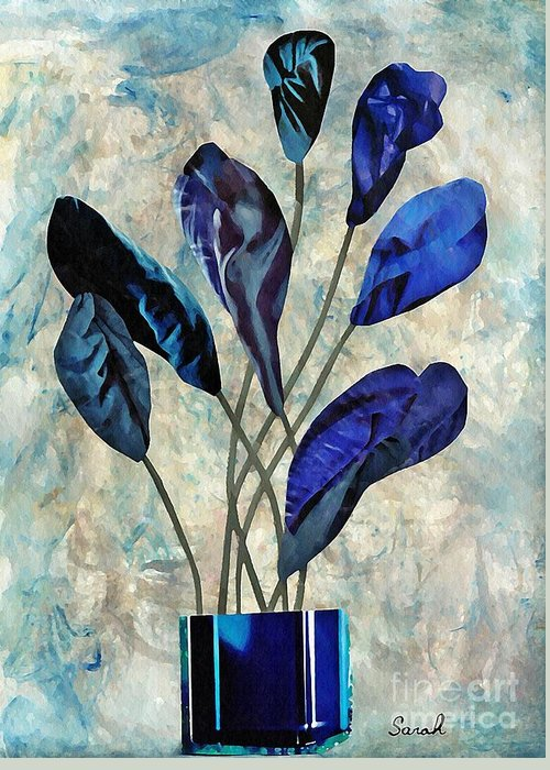 Floral Greeting Card featuring the mixed media Dark Blue by Sarah Loft