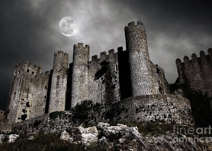 Ancient Greeting Card featuring the photograph Dark Castle by Carlos Caetano