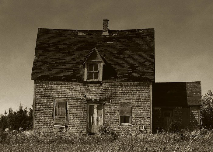 Old House Greeting Card featuring the photograph Dark Day On Lonely Street by RC DeWinter