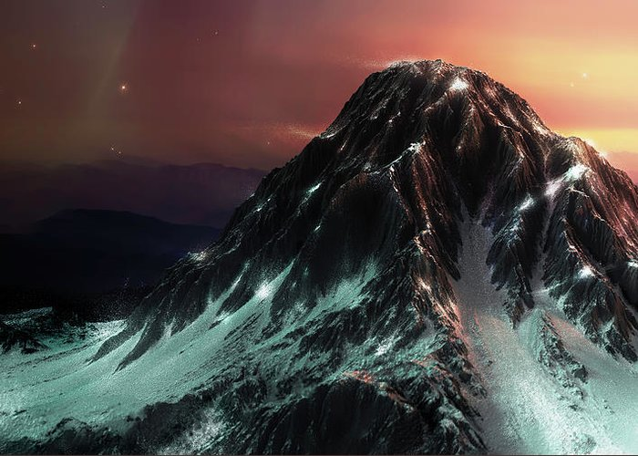 3d Greeting Card featuring the digital art Dark Mountain by Arcuedes Cosmos