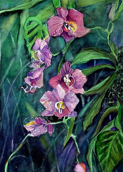 Orchid Greeting Card featuring the painting Dark Orchid by Mindy Newman