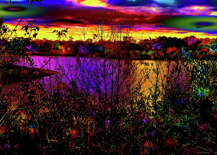 World's Greeting Card featuring the digital art Dark Psychedelic Sunset by Ron Fleishman