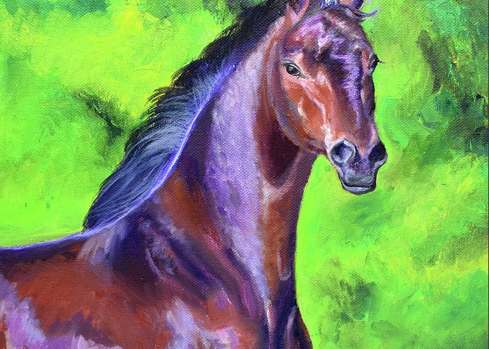 Dark Red Bay Horse Greeting Card featuring the painting Dark Red Bay Horse by Anne Cameron Cutri