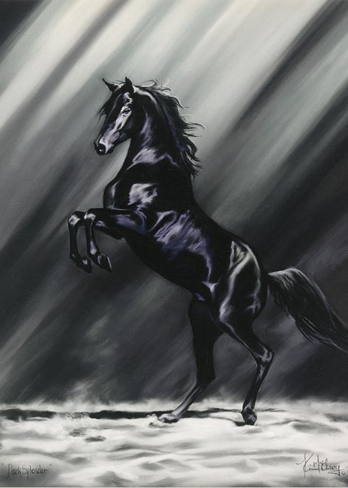 Rearing Black Stallion Greeting Card featuring the pastel Dark Splendor by Kim McElroy