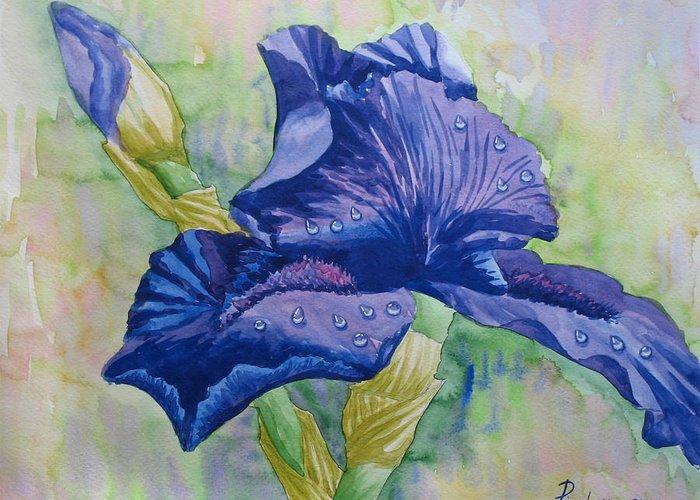 Flowers Greeting Card featuring the painting Dark Violet Iris. 2007 by Natalia Piacheva