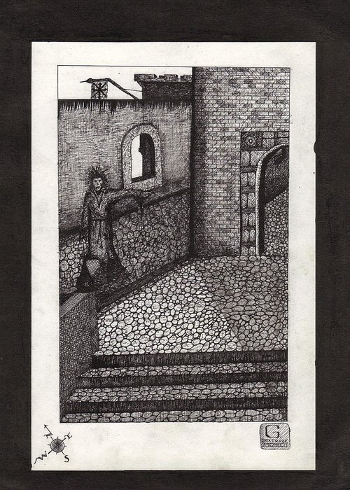 Medevil Crosshatch Castle Abstract Greeting Card featuring the drawing Darkness II by Geoffroy Dextraze