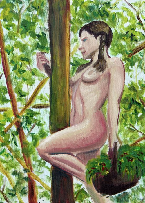 Hilary J England Contemporary American Artist Figurative Outdoor Plein Air Nude Study Greeting Card featuring the painting Darlene With Basket by Hilary England