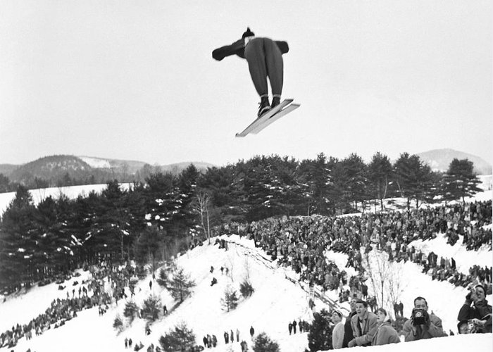 1950's Greeting Card featuring the photograph Dartmouth Carnival Ski Jumper by Underwood Archives