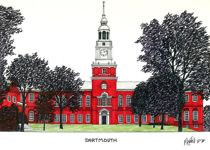 Dartmouth College Pen And Ink Drawing Greeting Card featuring the drawing Dartmouth by Frederic Kohli