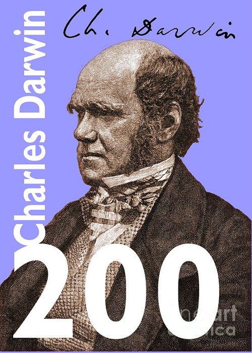Charles Darwin Greeting Card featuring the digital art Darwin 200 Lilac by Steve Wyburn