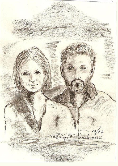 Portrait Drawing Emotion Berlin Restoration Greeting Card featuring the drawing Das Berliner by Alfred P Verhoeven