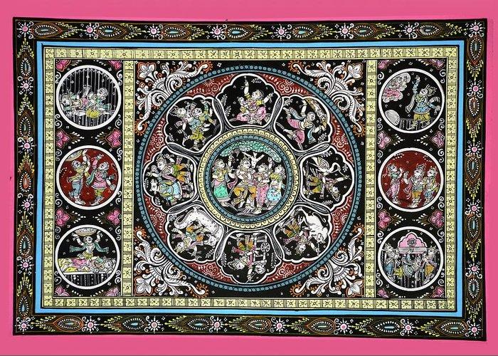 Greeting Card featuring the painting Dashavtar B/w 5 by Bal Krishna Bariki