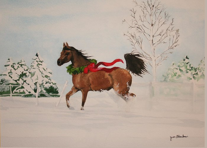 Horse Greeting Card featuring the painting Dashing Thru The Snow by Jean Blackmer