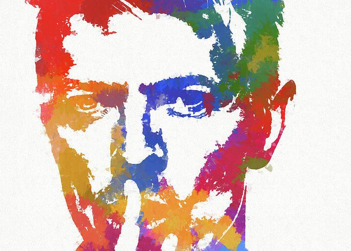 Bowie Reflection Greeting Card featuring the painting David Bowie by Dan Sproul