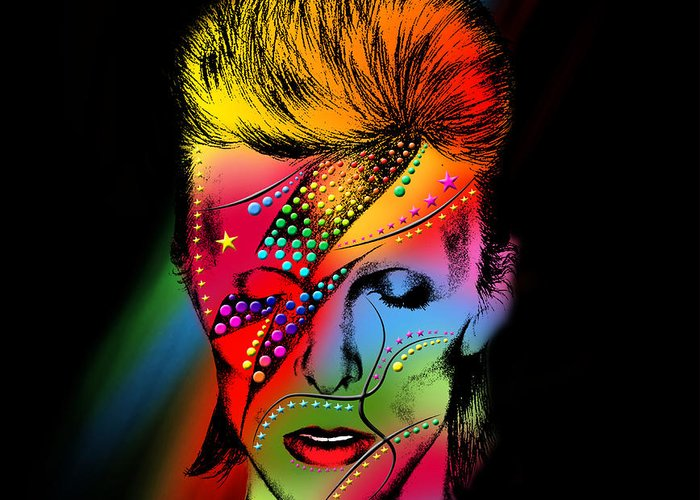 David Bowie Greeting Card featuring the painting David Bowie by Mark Ashkenazi