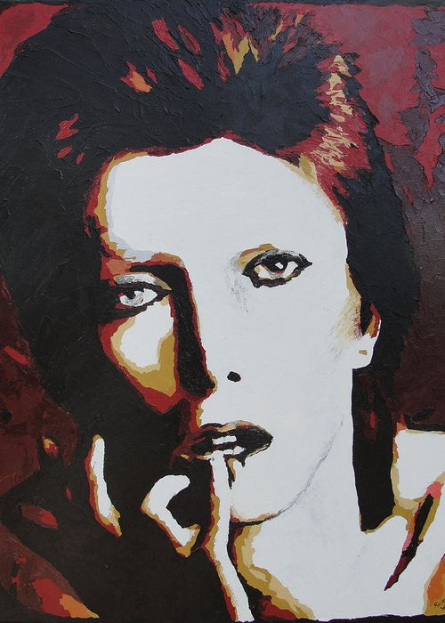 David Bowie Greeting Card featuring the painting David Bowie by Ricklene Wren