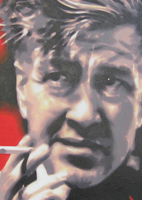 Laura Palmer Greeting Card featuring the painting David Lynch by Luis Ludzska