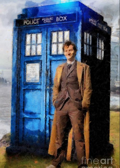 Doctor Who And Tardis Art Greeting Card featuring the painting David Tennant As Doctor Who And Tardis by Elizabeth Coats