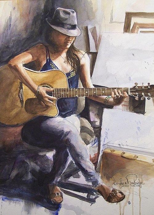 Music Greeting Card featuring the painting Dawb Leej - Studio Serenade by Douglas Trowbridge