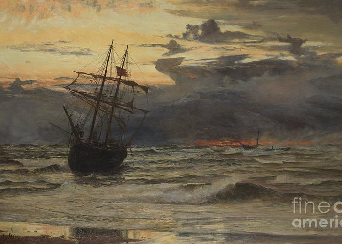 Seascape Greeting Card featuring the painting Dawn After The Storm by William Lionel Wyllie