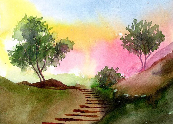 Landscape Greeting Card featuring the painting Dawn by Anil Nene