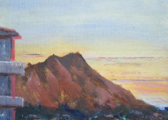 Landscape Greeting Card featuring the painting Dawn At Diamond Head by Bryan Alexander