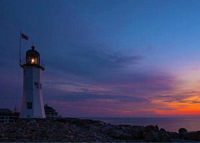 Lighthouse Greeting Card featuring the photograph Dawn At Scituate Light by John Forde