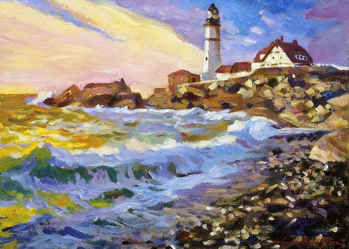 Impressionism Greeting Card featuring the painting Dawn Breaks Cape Elizabeth Plein Air by David Lloyd Glover