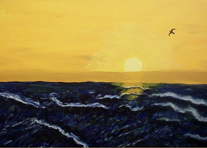 Nature Greeting Card featuring the painting Dawn By The Sea by Mats Eriksson