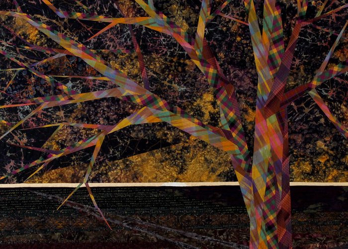 Landscape Greeting Card featuring the tapestry - textile Dawn by Linda Beach