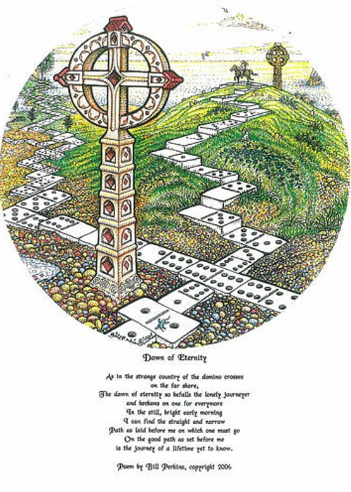 Dominoes Greeting Card featuring the drawing Dawn Of Eternity by Bill Perkins