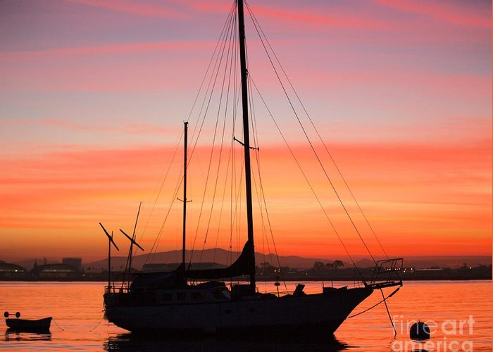 Sailboat Greeting Card featuring the photograph Dawn Of The Sailboat by Caroline Jeanine