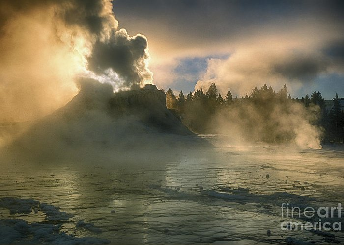 Yellowstone Greeting Card featuring the photograph Dawn On Castle Geyser by Sandra Bronstein