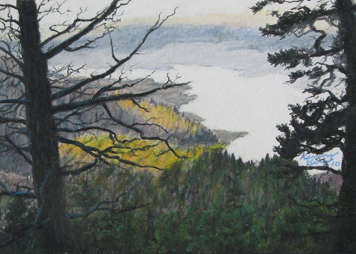 Landscape Greeting Card featuring the drawing Dawn Over Eagle Nest Lake by Kenny King