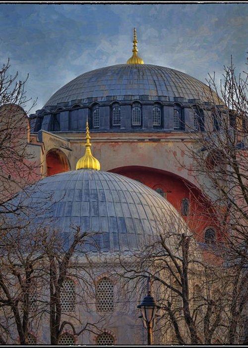 Hagia Sophia Greeting Card featuring the photograph Dawn Over Hagia Sophia by Joan Carroll