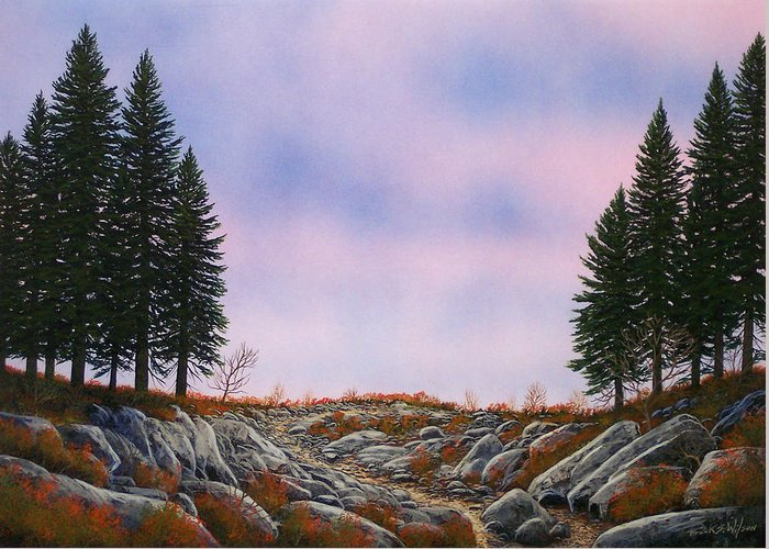 Landscape Greeting Card featuring the painting Dawn Pacific Crest Trail by Frank Wilson