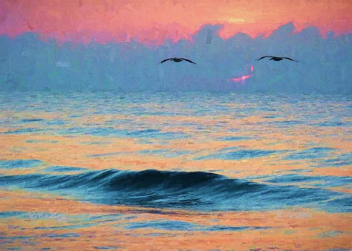 Pelican Greeting Card featuring the photograph Dawn Patrol by JC Findley