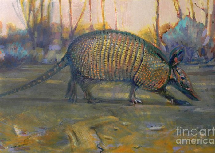 Armadillo Greeting Card featuring the painting Dawn Run by Donald Maier
